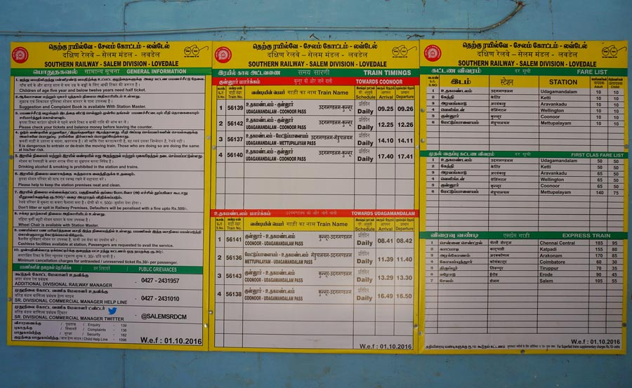 ooty toy train timetable